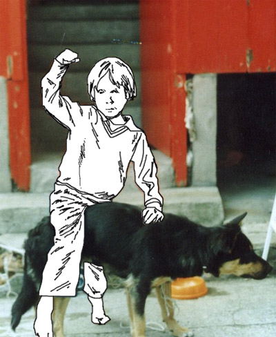 invisible boy sits on dog, in Wales.