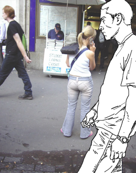 invisible man stares at visible bum.