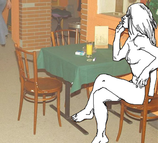 invisible woman, naked at a cafe.